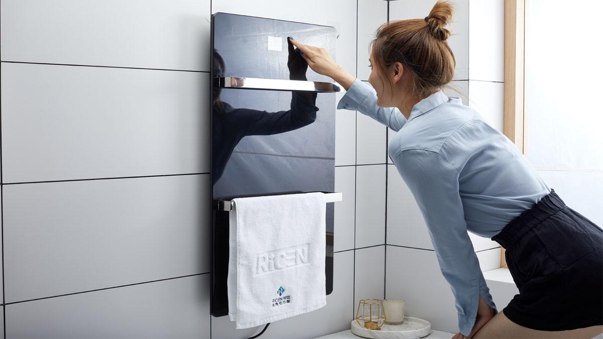 mirror wall-mounted heated towel warmer-5