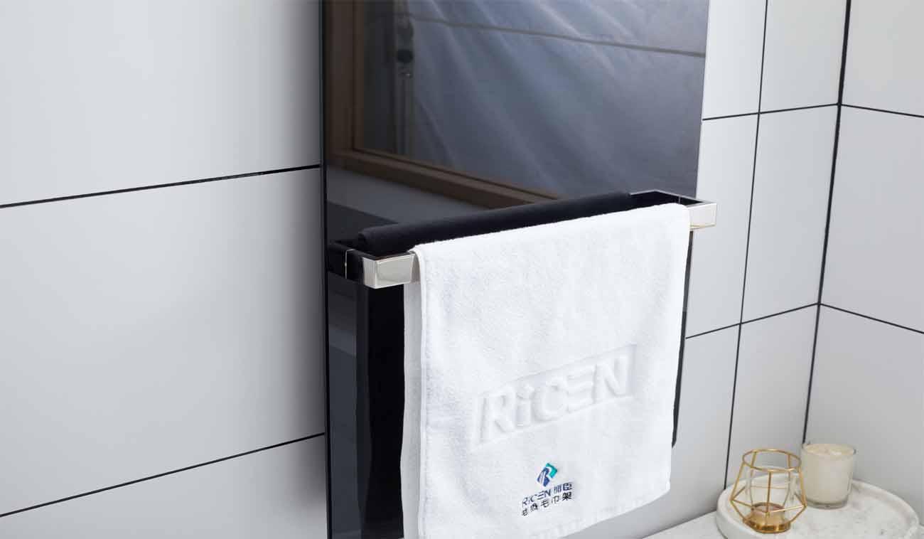 Carbon fiber mirror style heated towel warmer
